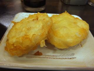 おにやんま@青物横丁(4)冷かけ並290麺半玉60レンコンとりミンチはさみ天ぷら200.JPG