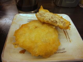 おにやんま@青物横丁(5)冷かけ並290麺半玉60レンコンとりミンチはさみ天ぷら200.JPG